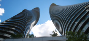 Absolute Condo Towers - Looking up Spiral Architecture