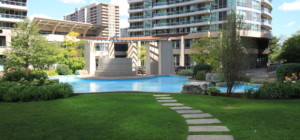 City One Condos - 1 Elm Drive Mississauga - Front Entrance Water Feature